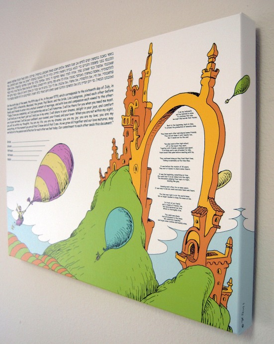 Seuss - Ketubah Closeup with Custom Rhyme